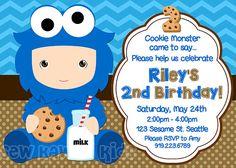 COOKIE MONSTER Birthday Invite Cookie Monster by SewKawaiiKids