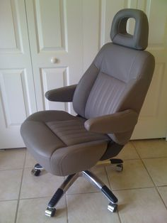 Car seat transformed into executive office chair by the Ultimate Upcyclers