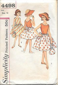 Simplicity 4498 - 1960's Tween Dress with Hat and Purse Vintage Sewing Pattern, offered on Etsy by GrandmaMadeWithLove