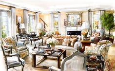 Interior Watercolor Painting Country