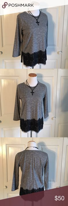 LOFT Lace Sweater Gray 3/4 sleeve lightweight sweater with black lace bottom. Lightweight, but of a moderately thick material. Size XS, but fits more like a small. I'm a size 4/6 and this fits me fine. Excellent, perfect condition. NWOT. LOFT Sweaters Crew & Scoop Necks