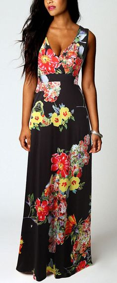 Black Floral Print Plunging Neckline Sleeveless National Maxi Dress - Maxi Dresses - Dresses