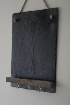 Slate Chalkboard with platform and hooks