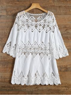 Crochet Beach Cover-Up Dress - White #Shoproads #onlineshopping #Dresses