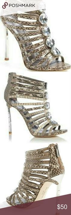"""🎉HP🎉 NEW SAM EDELMAN """"HAMPTON"""" HEELS 🎉🎉BOSS GIRL HOST PICK🎉🎉  NEW GENUINE AUTHENTIC SAM EDELMAN """"HAMPTON"""" STILETTO HEELS. GENUINE LEATHER """"SNAKESKIN"""" PRINT UPPER WITH EMERALD CUT CRYSTALS GOING DOWN THE VAMP, CAGED STRAPPY VAMP, 4 1/2"""" """"METAL LOOK"""" COORDINATING HEEL, BACK ZIPPER CLOSURE, LEATHER FOOT BED AND LINING Sam Edelman Shoes Heels"""