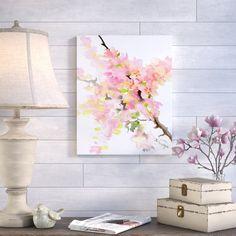Ophelia & Co. 'Cherry Blossom Sakura' Painting Print on Wrapped Canvas & Reviews | Wayfair