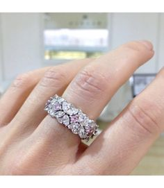 Diamond dress ring with pink diamonds #kalfinjewellery#custommadejewellery #diamondringsmelbourne#engagementringsmelbourne#dressrings#artdecojewellery#diamondhalorings #weddingbands www.kalfin.com.au