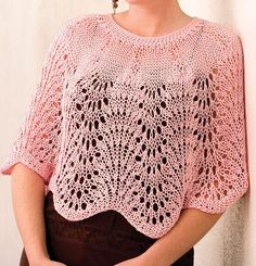 Image detail for -Free Knitting Pattern - Lacy Waves Poncho from the Lace ponchos and . Capelet Knitting Pattern, Knitted Capelet, Crochet Poncho Patterns, Shawl Patterns, Knitting Patterns Free, Knitted Baby, Knitting Designs, Free Pattern, Crochet Cape