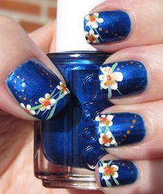 Blue with Flower Tips and Polka Dots Mani