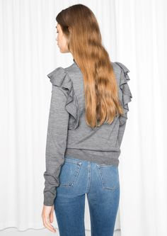 & Other Stories image 3 of Frilled Merino Wool Knit in Grey