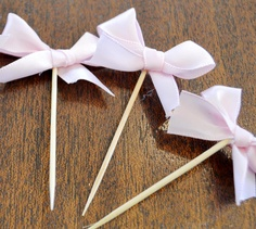Food Picks Hors D'ouevres pink bows, ribbon Set of 24 Food Decoration, tooth picks wedding bridal shower party white. $27.00, via Etsy.