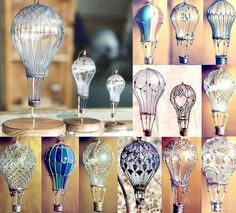 Lightbulbs -> Hot Air Balloons! Inexpensive art idea for class & give as Mother's/Father's Day gifts.