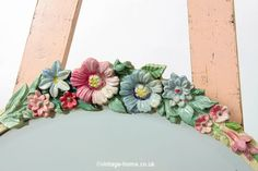 Vintage Home - 1930s Floral and Pink Ribbon Barbola Mirror.