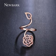 Find More Rings Information about NEWBARK Fashion Flower And Leaf Design AAA…