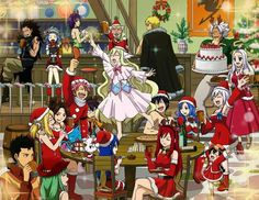 The whole guild celebrating Christmas. :3 Love how Grey just has a Santa hat lol