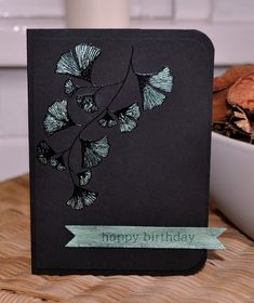 handmade card from Inky Fingers: Papertrey Ink birthday card ... one layer ... black background ... heat embossed gingko leaves with pearlescent ink coloring ... luv the dramatic Asian  look ...