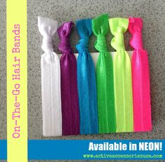 NEW PRODUCT ALERT: On-The-Go #Hair Band #Bracelets now available in #NEON! #hairtie #workoutgear #beactive