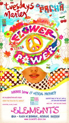 flyer artwork Pre Party, Greatest Hits, Hippie Chic, Live Music, Flower Decorations, Ibiza, Flower Power, Tuesday, Seasons