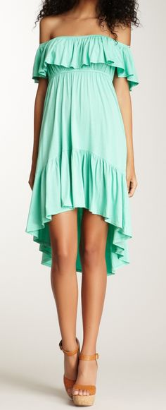 Mint off the shoulder dress