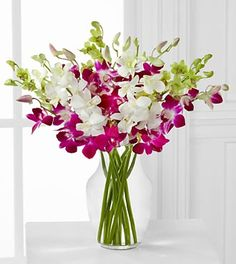 Bridal Bouquet - White, Magenta, and Green Orchids