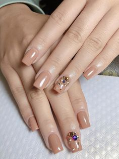 Cute Toe Nails, Pretty Nails, Nude Nails, Pink Nails, Square Nail Designs, Nail Art Designs Videos, Nail Jewels, Classy Nail Designs, Wedding Nails Design