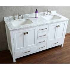 "Ari Kitchen & Bath Bella 60"" Double Bathroom Vanity Set with Mirror"