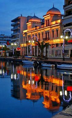 Halkida by night.. Evia, Greece | by elias thalassis