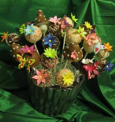 Fairy Garden Cake Pops - I made these for my daughter's 6th birthday party, they were my first 'professional' cake pops and became the banner picture for my website - www.petittreats.co.za