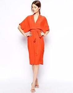 ASOS Pencil Dress With Kimono Wrap