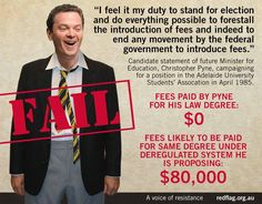 """""""A reminder of what Christopher Pyne said when he was at uni Vs what he's now doing as Ed Minister. #hypocrite #AusPol"""""""