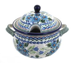 Polish Pottery Ballina Soup Tureen -- Read more details by clicking on the image. Polish Pottery, Baking Ingredients, Stoneware, Soup, Baking Dishes, 16th Century, Amazon, Cobalt Blue, Peacock