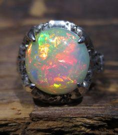 Natural Opal Ring  Ethiopian Gemstone  Size 7  by BimBamNation, $650.00