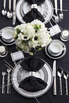 Chic black & white bridal shower brunch tablescape inspired by @Kate Mazur Mazur Mazur spade new york