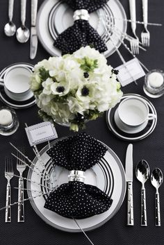 Chic black & white bridal shower brunch tablescape inspired by @Kate Mazur Mazur spade new york