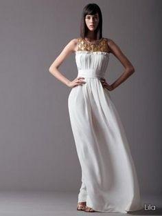 Vestido de Novia blanco con canesú dorado