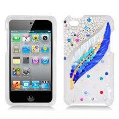Do you believe? ONLY $29.99, you can get winkle  3D Spot White/ Blue Feather With Some Rhinestones hard case for you iPod Touch 4.Enjoy now!