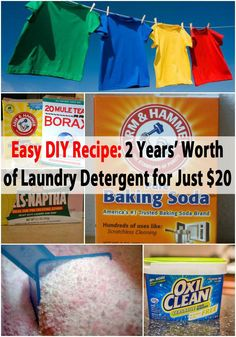 Frugality comes in many forms and homemade laundry detergent is a great one. If you love saving money and making your own household cleaners, we have got the perfect project for you. Cleaning Recipes, Diy Cleaning Products, Cleaning Solutions, Cleaning Tips, Cleaning Supplies, Laundry Supplies, Homemade Products, Cleaners Homemade, Diy Cleaners
