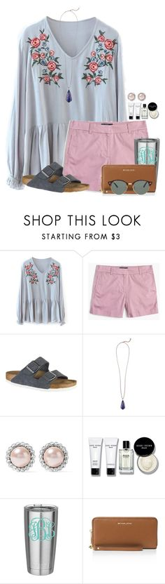 """""""Can hardly keep track of the days during summer:)"""" by auburnlady ❤ liked on Polyvore featuring J.Crew, Birkenstock, Kendra Scott, Miu Miu, Bobbi Brown Cosmetics, MICHAEL Michael Kors and Ray-Ban"""