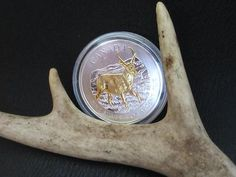 2013 1 oz Canadian Antelope Wildlife Series .9999 Fine Silver Coin 24K Gilded