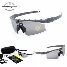 b3dfc03760 Tactical Glasses Army Sunglasses 3lens Shooting Glasses Airsoft Goggles 4  Lens UV 400 bulletproof Hiking Eyewear