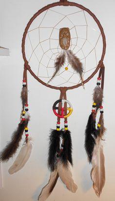 "Handmade 8"" Medicine Wheel Bear Woman Dream Catcher with Clay Genie pendant."