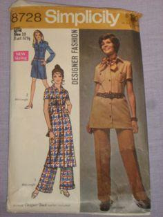 #Vintage #1970 #Simplicity Pattern 8728 Dress & Pantsuit, Size 10, Uncut INCOMPLETE Teen Fashion, Retro Fashion, Fashion Models, Simplicity Patterns, Vintage Sewing Patterns, Peplum Dress, Boho, Retro Style, Trending Outfits