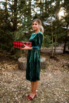 ModCloth x Elle Apparel in Without Further Salut Velvet Long Sleeve Dress & Amplified Acclaim Heel Source by outfits Holiday Outfits Women, Holiday Fashion, Holiday Dresses, Christmas Outfits For Women, Party Fashion, Dress Fashion, Party Dresses, Fashion Outfits, Mode Outfits
