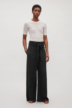 COS Belted high-waist trousers in Black