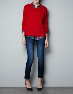 CABLE KNIT SWEATER WITH ZIP CLOSURE - Knitwear - Woman - ZARA Ireland