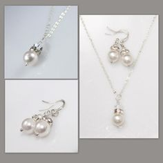 Swarovski White Pearl Necklace and Earring Set, Bridesmaid Jewelry Set, Bridesmaid Gift, Bridesmaid Jewelry Set