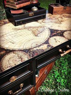 Old World Map Decoupaged Dresser w/ Lamp Black | General Finishes Design Center