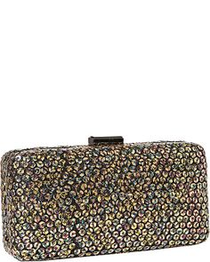 SEQUIN CLUTCH: Give your purse portfolio some serious shimmer with this sequin-splashed silhouette. Exceptionally sleek and sized right for night, its destined to delight on or off the dance floor. The optional chain strap lets you carry it all off with ease. Faux leather with allover sequins. Leopard print exterior. Tab push-lock frame closure. Concealed chain link strap. Fully lined interior $78.00