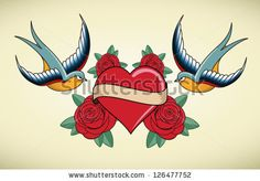 Tattoo Illustration with heart, roses and swallows by Attsetski, via ShutterStock