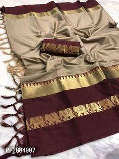 New Hathi Design Cotton Silk Saree with Blouse piece Soft Silk Sarees, Cotton Saree, Cotton Silk, Fashion Bazaar, Designer Silk Sarees, Latest Sarees, Bollywood Saree, Banarasi Sarees, Printed Sarees